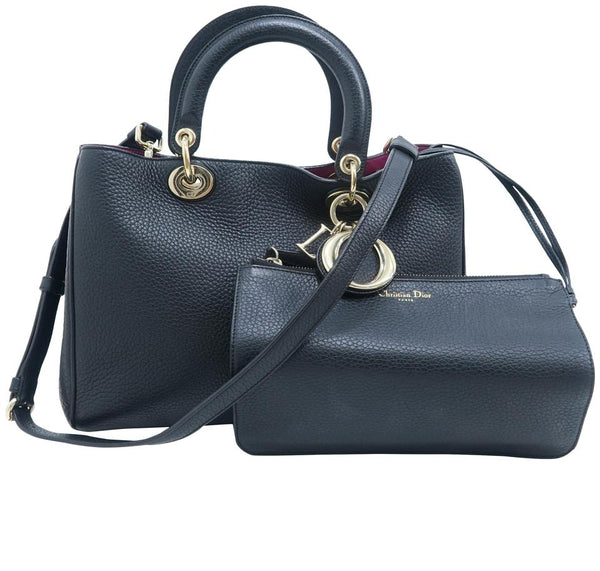 Dior Christian Medium Diorissimo Black Calfskin Satchel