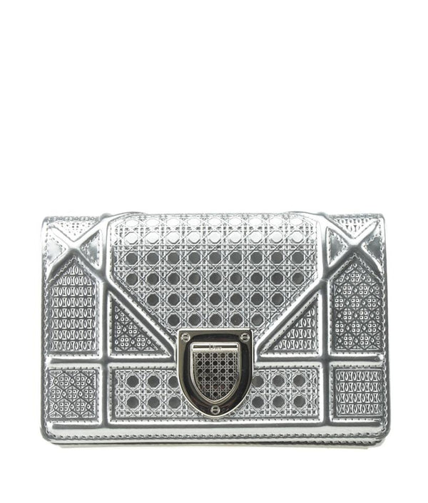 Dior Micro Cannage Silver Leather Shoulder Bag