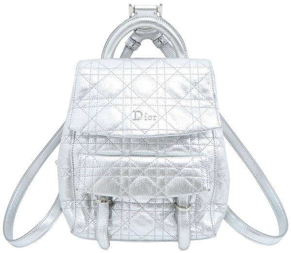 Dior Small Stardust Metallic Silver Calfskin Leather Backpack