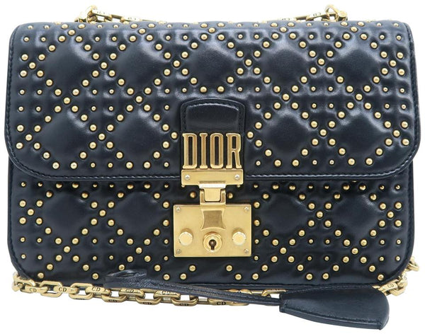 Dior Wallet on Chain Addic Studded Black Lambskin Shoulder Bag