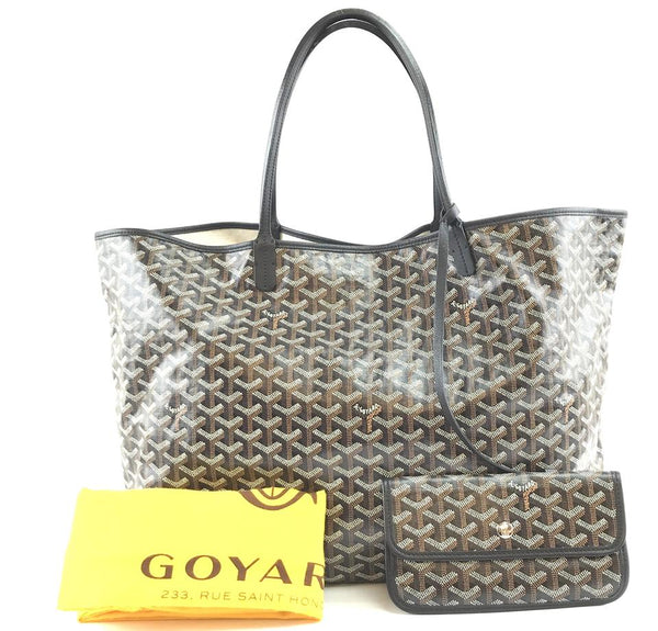 Goyard with Pochette St Saint Louis Gm Large Tote Light Weight Goyardine Black Coated Canvas and Leather Shoulder Bag