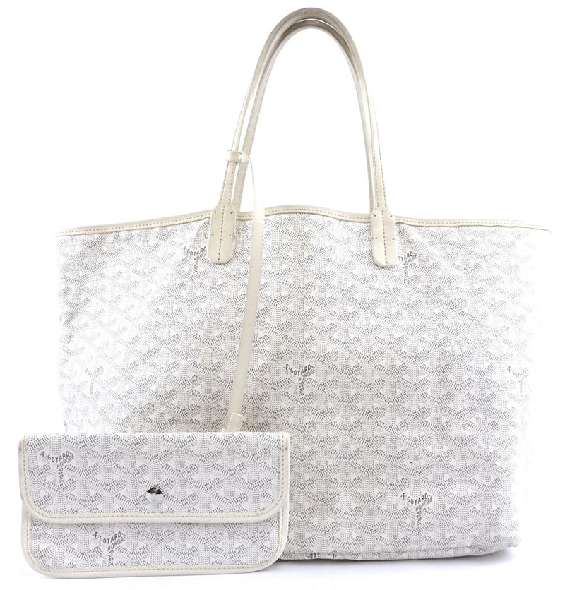 Goyard with Pochette St Saint Louis Pm Tote Work White Goyardine Coated Canvas and Leather Shoulder Bag