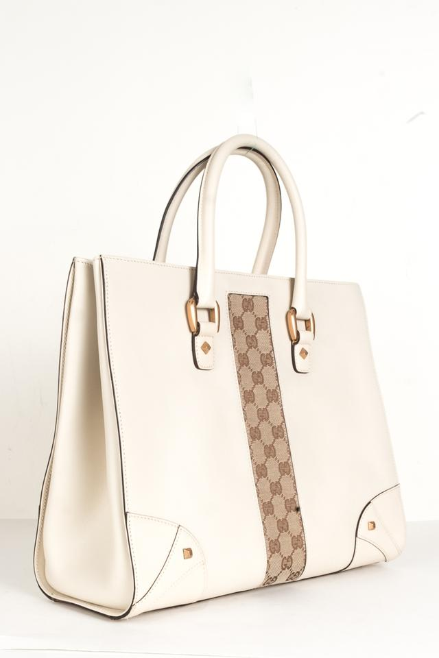 Gucci And Gg Supreme Handle Creme Leather Tote