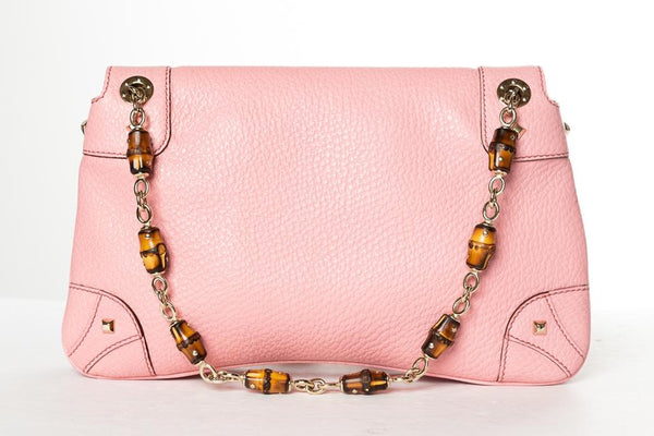 Gucci Bamboo Pink Leather Shoulder Bag