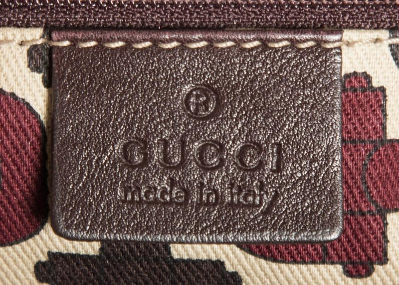 Gucci Brown Monogram Handle Leather Shoulder Bag