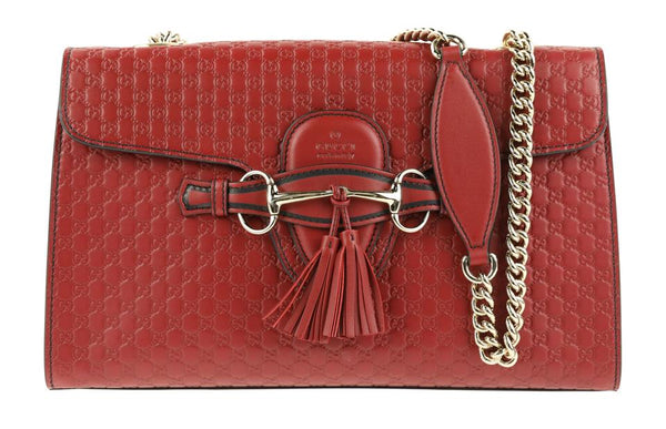Gucci Chain Emily Red Leather Shoulder Bag