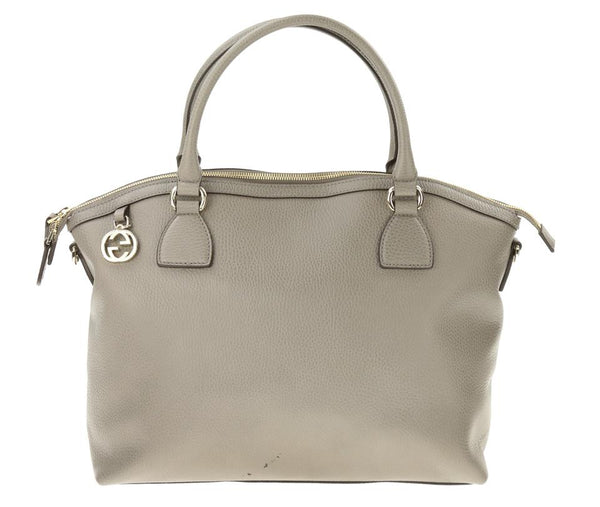 Gucci Charm Convertible Grey Leather Satchel