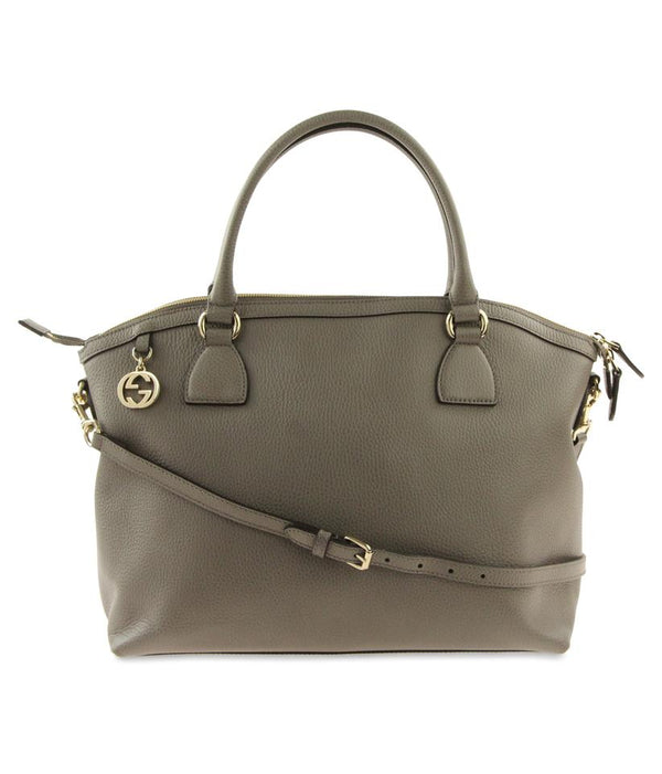 Gucci Convertible Charm Loess Grey Leather Satchel