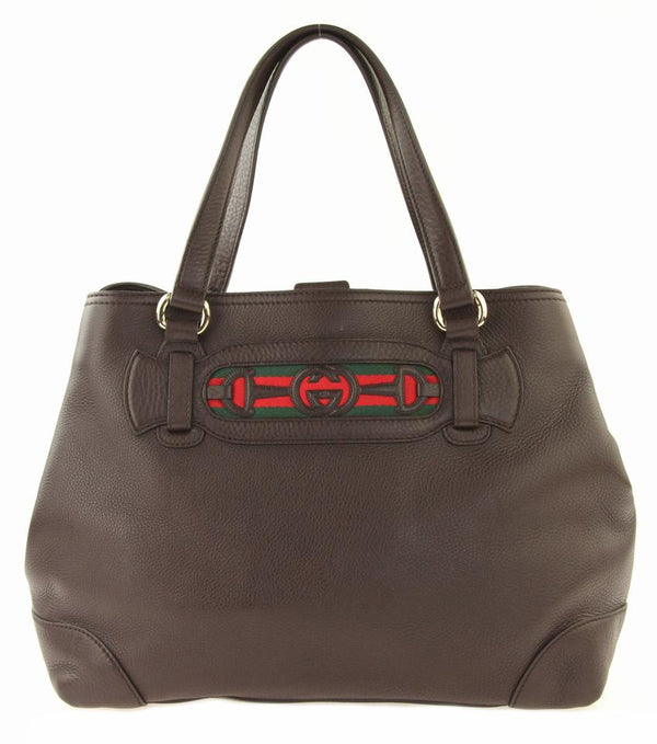 Gucci East-west Coffee Brown Leather Tote