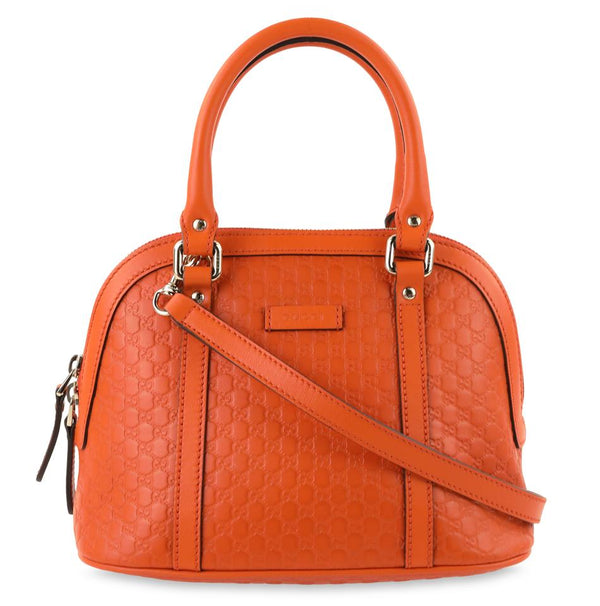 Gucci Microguccisima Margaux Orange Leather Shoulder Bag