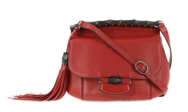 Gucci Red Leather Nouveau Fringe Shoulder Bag