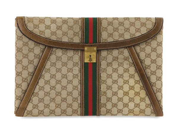 Gucci Vintage Canvas Brown Leather Clutch