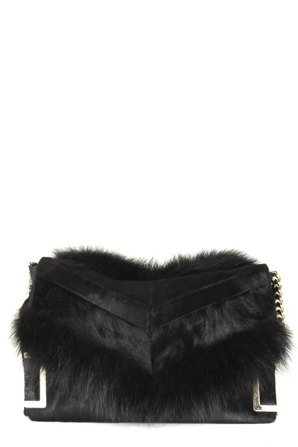 Jimmy Choo 'ally' Black Pony Fur Shoulder Bag