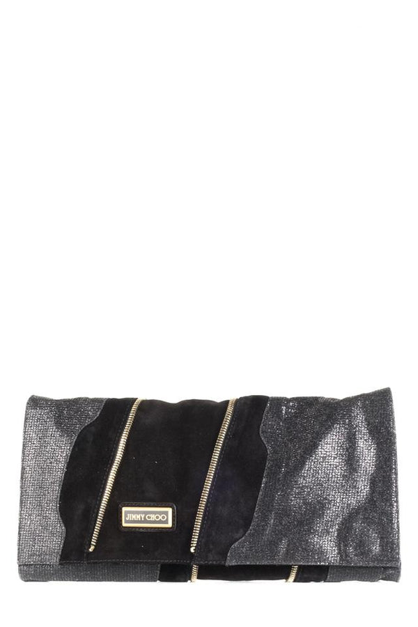 Jimmy Choo And Metallic Black Suede Leather Clutch