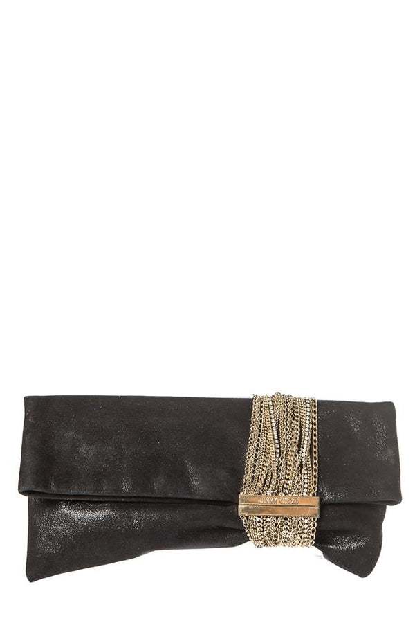 Jimmy Choo Chandra Black Suede Leather Clutch