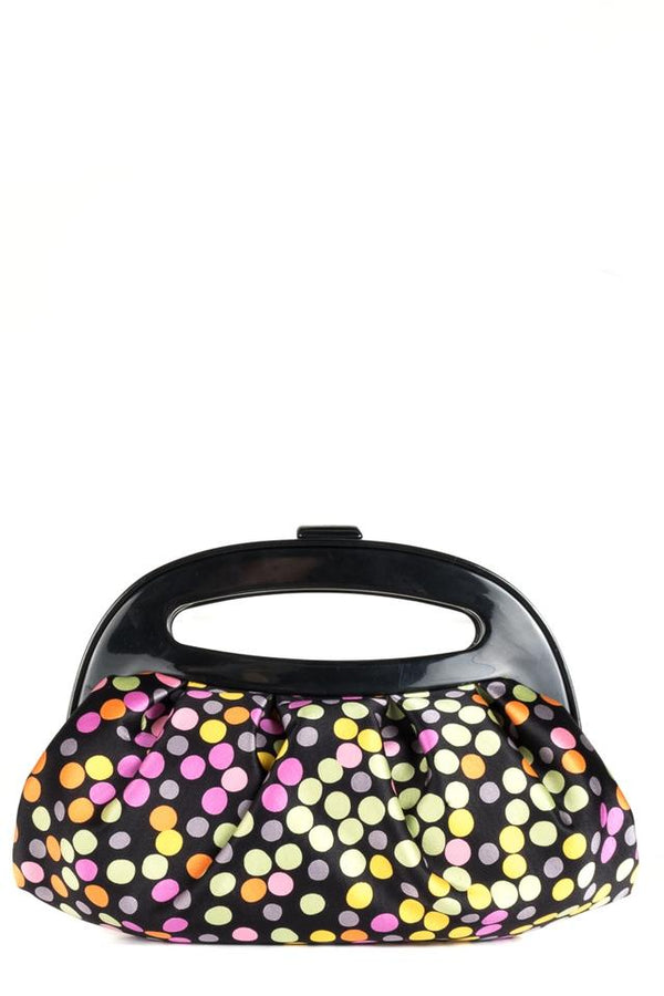 Jimmy Choo Multi-color Polka Dot Handle Black Satin Clutch