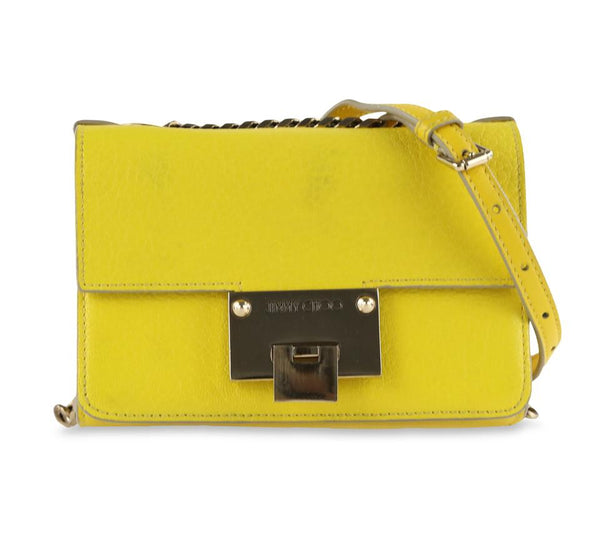 Jimmy Choo Rebel Yellow Leather Cross Body Bag