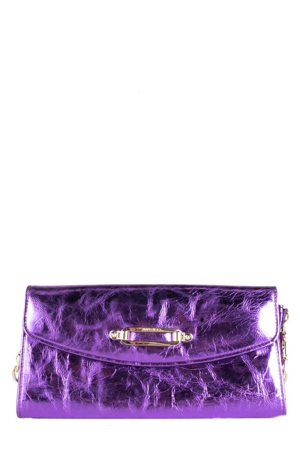 Jimmy Choo Shoulder Bag Purple Leather Clutch