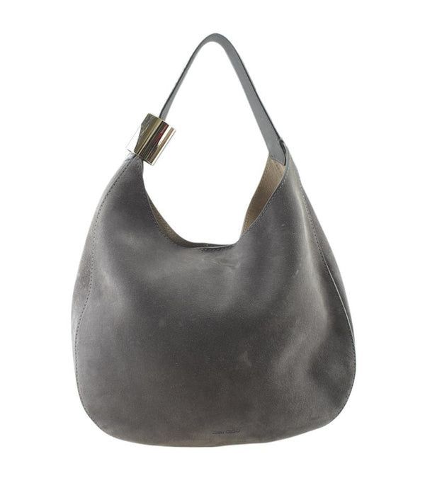 Jimmy Choo Stevie Suede & Snakeskin Grey Suedexsnakeskin Hobo Bag
