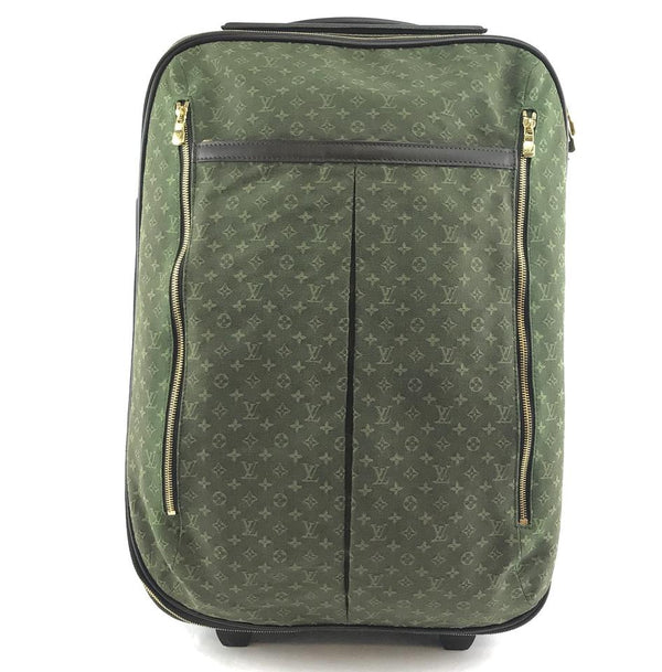 Louis Vuitton Pegase 55 Roller Luggage Suitcase Carry On Green Monogram Mini Lin Canvas Weekend/Travel Bag