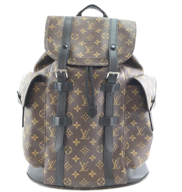 Louis Vuitton Christopher Pm Brown Black Monogram Macassar Canvas Backpack