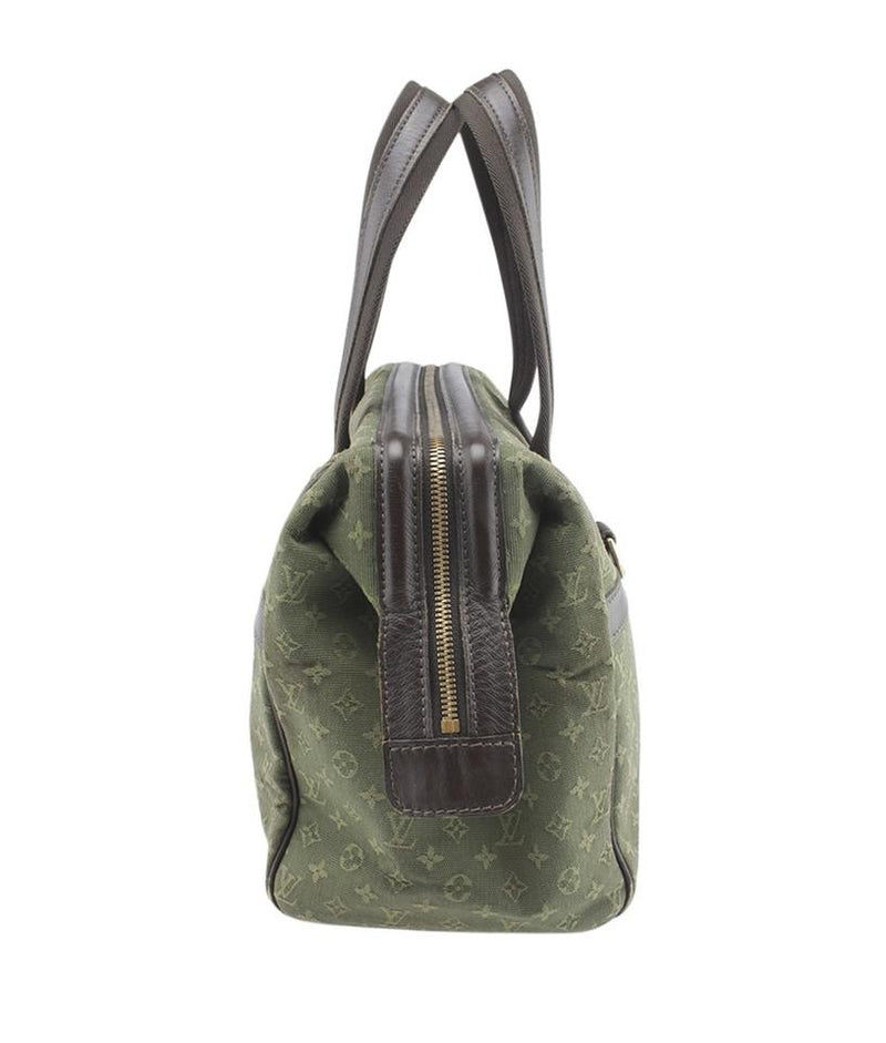 Louis Vuitton Josephine M92412 Mini Lin Gm Green Canvas Satchel