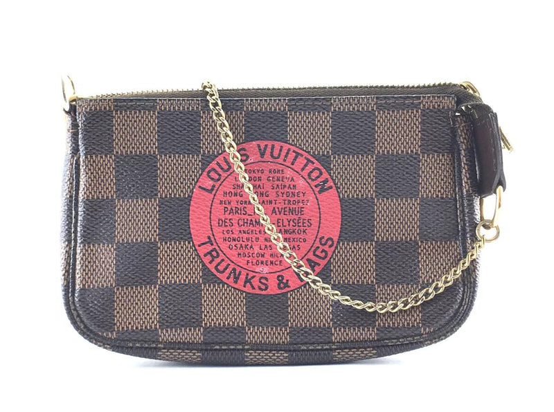 Louis Vuitton Pochette Gold Chain Wristlet Cosmetic Baguette Brown Red Coated Canvas Clutch