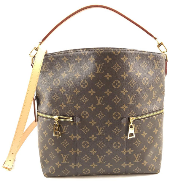 Louis Vuitton Tote Bucket Hobo Rare Melie with Strap Large Everyday Brown Monogram Canvas Shoulder Bag