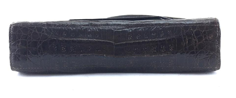 Nancy Gonzalez Clutch Envelope Convertible Evening Cosmetic Brown Crocodile Skin Leather Baguette