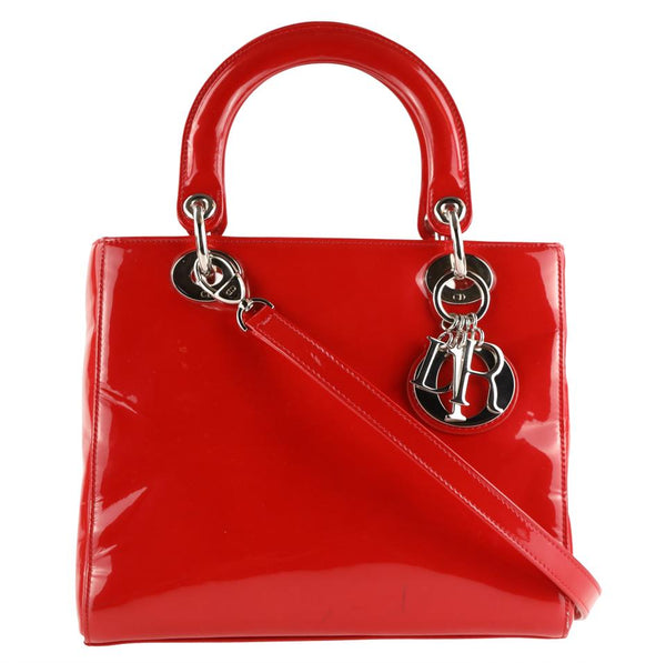 Dior Red Patent Leather Lady Satchel