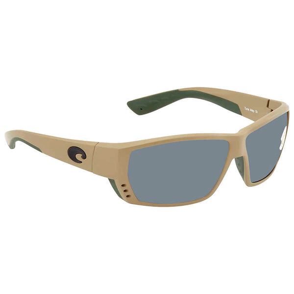 Costa Del Mar Tuna Alley Gray 580P Polarized Wrap Men's Sunglasses TA 248 OGP