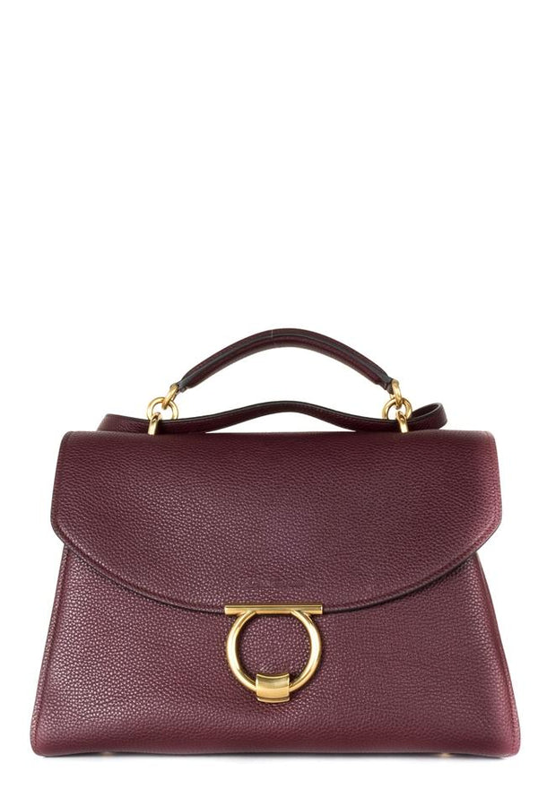 Salvatore Ferragamo Gancini Handle Wine Leather Shoulder Bag