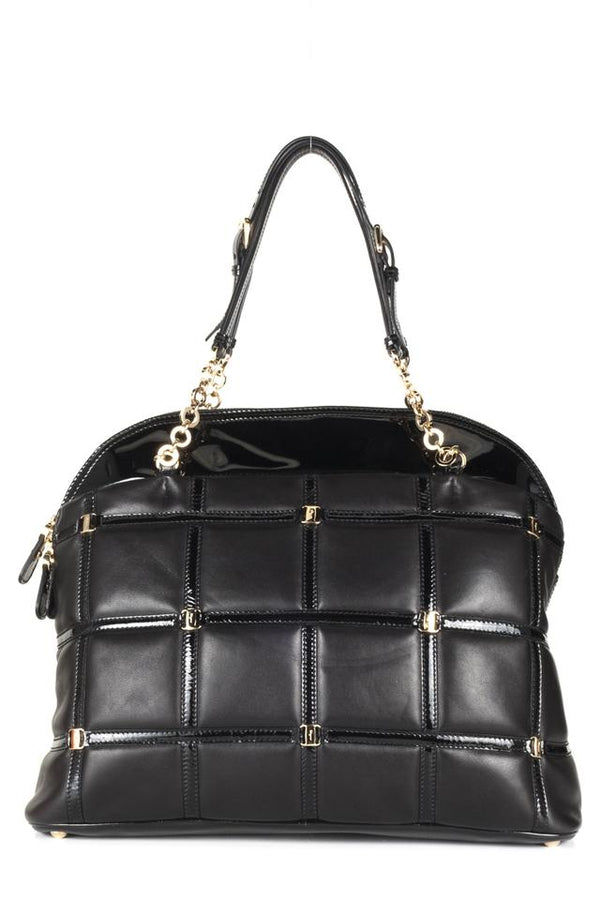 Salvatore Ferragamo Handle Black Leather Shoulder Bag