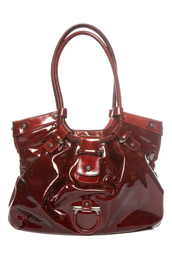 Salvatore Ferragamo Hobo Burgundy Patent Leather Shoulder Bag