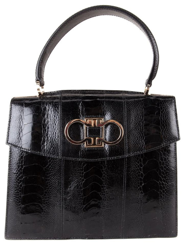 Salvatore Ferragamo Leather Kelly Style Handle Black Crocodile Shoulder Bag