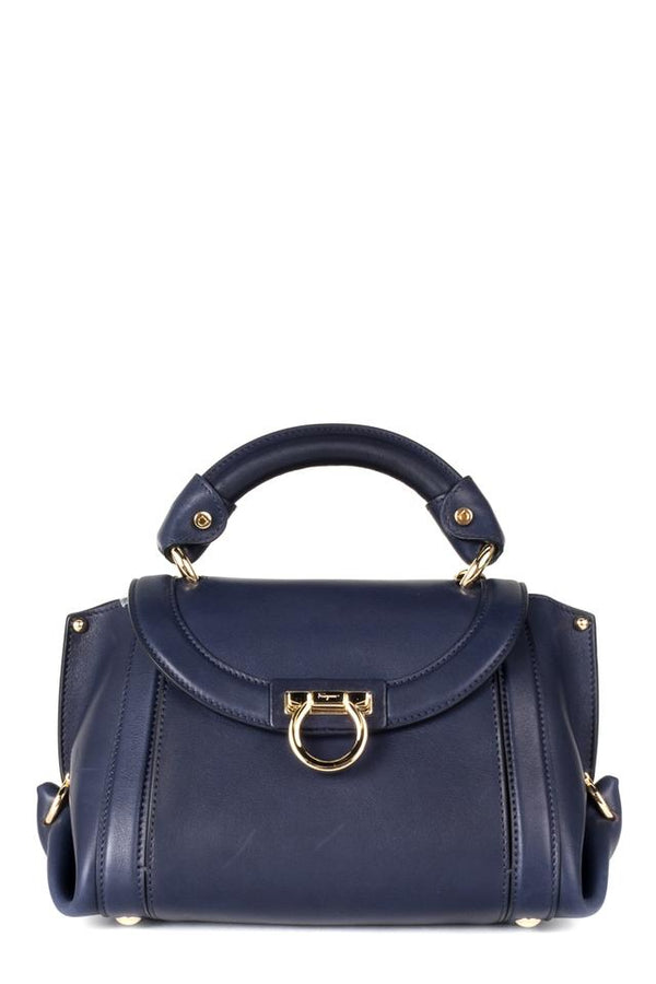 Salvatore Ferragamo Navy Suzanna Mini Handle Blue Leather Shoulder Bag