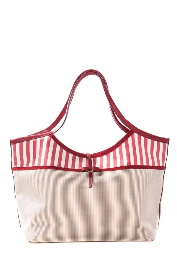 Salvatore Ferragamo Striped Woven Open Top Red & Tan Tote