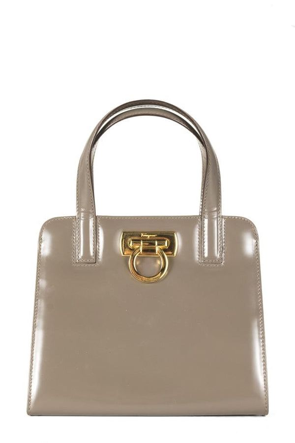 Salvatore Ferragamo Top Handle Bag Mini Taupe Patent Leather Tote