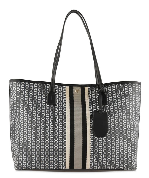 Tory Burch Gemini Link Black Canvas Tote