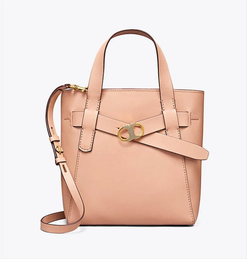 Tory Burch Gemini Link Small Beige Leather Tote