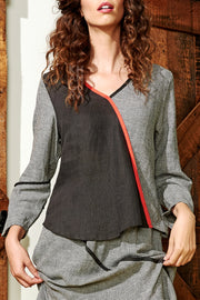 Saint Tropez Diagonal V Neck Top