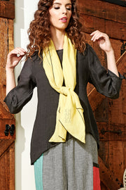 Khangura natural fiber linen top. Simple black top for everyday. Elegant clothing for women made in USA.