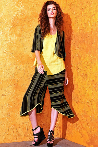 Stylish pull-on culotte pants by Khangura. Funky yet classy black yellow cropped pants. retro style comfy palazzo pants made in USA.