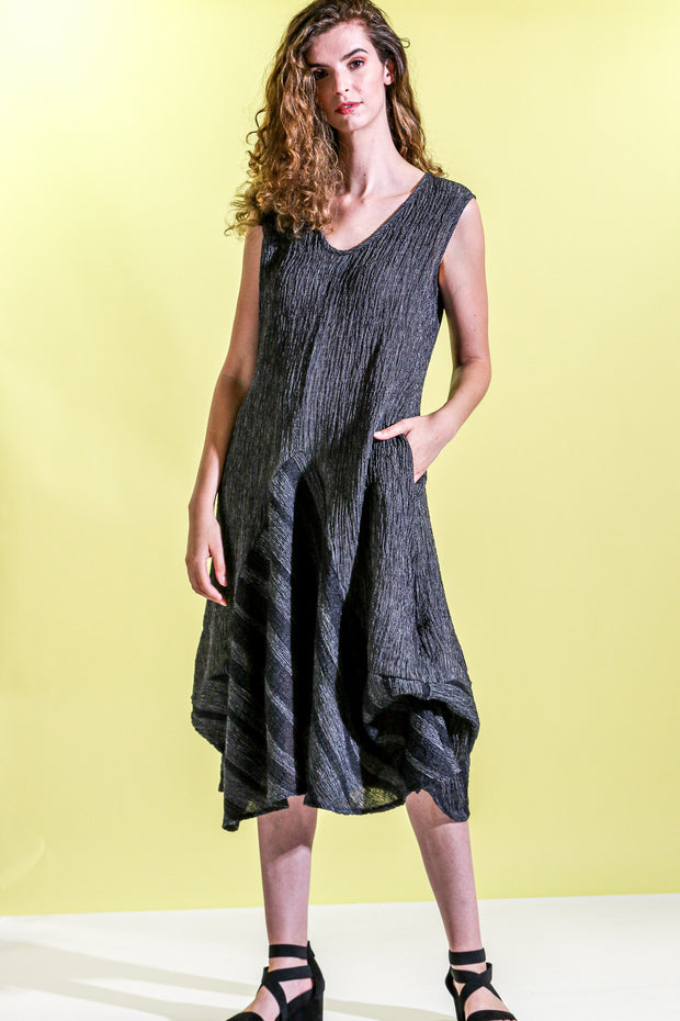 Khangura Dramatic artistic yet classic black dress by Khangura. Sleeveless crinkled edgy yet elegant dress. sophisticated womens clothing dress. One of A kind Art to Wear Long Dress made in the USA.