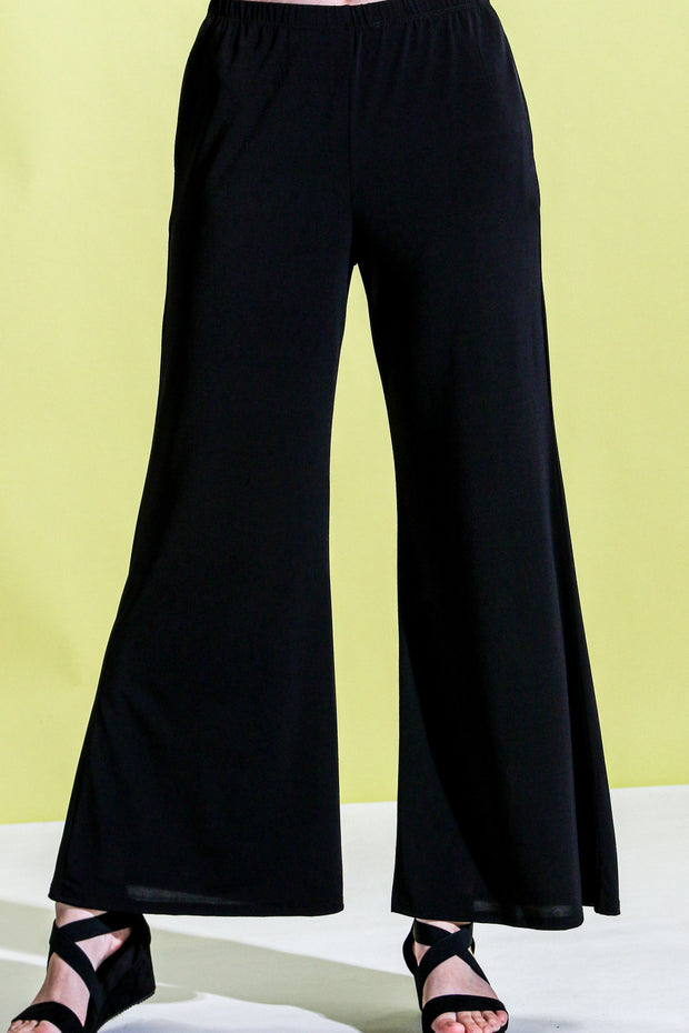 Khangura Long Black Pants Pull-On Comfy Styling Super Soft Jersey Pants with seam pockets. Basic Light-Weight Comfortable All-Season Long Palazzo Pants Made in USA.