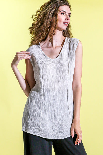 Khangura natural fiber linen tank top. Basic white cream top for every day. Elegant and sophisticated panel design sleeve-less top. Comfy Designer Tank Top Made in USA.