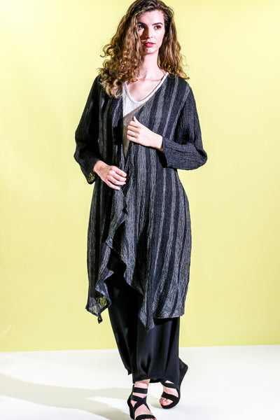 Khangura Long Duster Coat in High-End Crinkled Linen Blend. Comfy Walking Duster USA-Made. Edgy yet Classy Coat. Light-weight Breathable Beautiful Art to Wear Unique Coat.