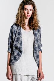 Khangura Denim short blue wrap jacket in high-end designer linen. Unique style crop jacket in light weight high quality breathable fabric. One size fit all, One of A Kind Bolero jacket.