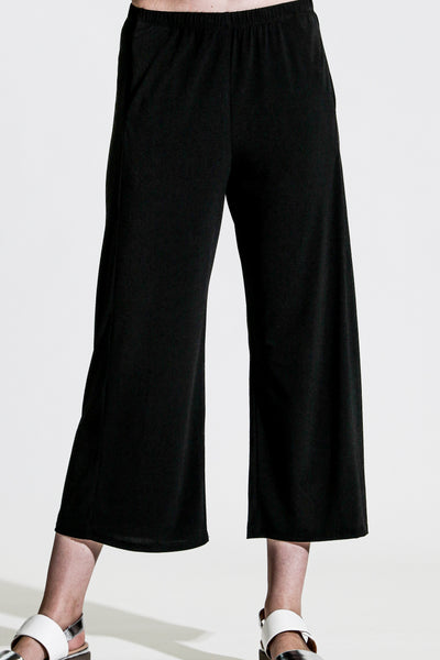 Khangura Slimming Black Capri Pants. Basic Black Pants. Cute Black Crop Pants. Pull-On Comfy Pants USA-Made.