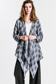 Khangura unique open weave breathable high-end linen jacket.  Open front comfy light-weight jacket in blue mosaic pattern.